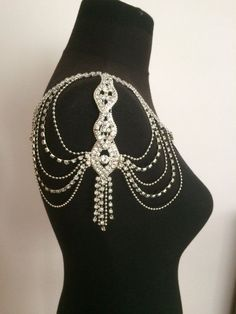 HANDMADE JEWELRY  two shoulder-set, -You can use as necklace or you can combine with dresses on your shoulders.It has needle hook that you can attach on