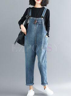 Casual Denim Loose Straps Jumpsuit with Pockets Ripped Denim, Distressed Denim, Denim Shirts, Plus Size Jumpsuit, Jumpsuit Dress, Funky Fashion, Minimal Fashion, Street Fashion, Romper Outfit