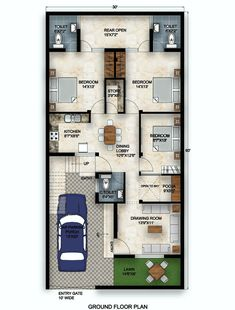 3 bhk house with car parking and lawn 10 Marla House Plan, 2bhk House Plan, Model House Plan, Duplex House Plans, House Layout Plans, New House Plans, House Layouts, House Floor Design, House Outer Design