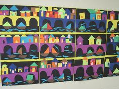 Lines, Dots, and Doodles: Kindergarten bridges photocopied onto construction paper, students cut on lines.  students arranged picture and shared with teacher before gluing