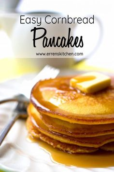 Who needs Jiffy when you can make homemade with this easy recipe for Cornbread Pancakes. This recipe makes crispy, fluffy breakfast pancakes from scratch that come out perfect every time. Cornmeal Pancakes, Pancakes Easy, Breakfast Pancakes, Pancakes And Waffles, Butter Pancakes, Pancakes From Scratch, Cornbread Recipe From Scratch, Savoury Cake, Clean Eating Snacks