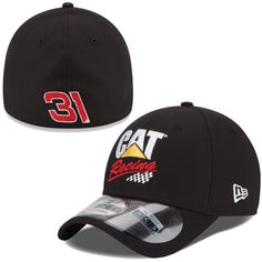 dfdc76e794c Mens Ryan Newman New Era Black Cat Racing Driver 39THIRTY Flex Hat