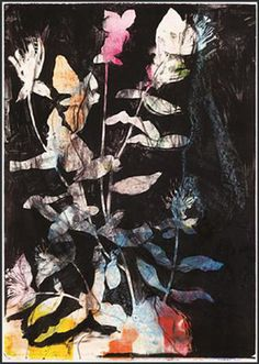 From The WhiteHouse Gallery Johannesburg, Jim Dine, Wild Flowers in The Night Lithograph over monotype, 106 × 75 in Flower Images, Flower Art, Nina Flowers, Jim Dine, Night Garden, Drawing Projects, Abstract Nature, Botanical Drawings, Oui Oui