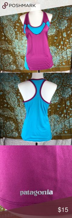 Patagonia running top Purple and blue ladies Patagonia running top.  Worn once, very light and perfect for running.  Size: smallest  No built in bra Tops Tank Tops