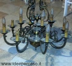 trasformare un vecchio lampadario in ottone in stile shabby chic