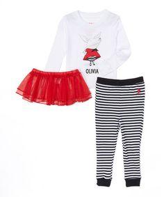 Look what I found on #zulily! White Olivia Tutu Pajama Set - Infant, Toddler & Girls #zulilyfinds