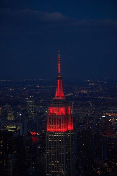November 30, 2015: The Empire State Building honors World AIDS Day by beaming in red in partnership with the New York City Council. World AIDS Day is an opportunity for people around the globe to unite against HIV and honor those who have lost their lives.