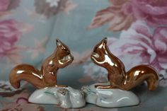 Vintage USSR Handpainted Porcelain Squirrel Figurines Set of 2 Vintage Soviet Collectible 1950's Baranovka Factory
