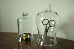 Vintage Glass Cloches/Domes  Set of 2 by thevintagethrift on Etsy, $16.00