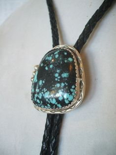 Vintage NAVAJO Sterling Silver & Tightly Webbed TURQUOISE Cabochon BOLO Slide