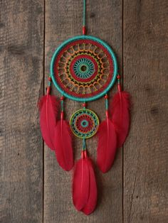 Dream catcher multi color/Bright by MyHappyDreams on Etsy Dream Catcher Mandala, Dream Catcher Decor, Dream Catcher Boho, Dream Catchers, Macrame Projects, Craft Projects, Los Dreamcatchers, Diy And Crafts, Arts And Crafts