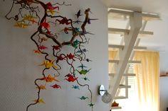 Origami Birds (CRANES) on the Wood Wall Decoration Interior Design 2011