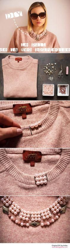 Ideas for old clothes * ღ :: Diy Fashion, Ideias Fashion, Womens Fashion, Fashion Design, Fashion Shirts, Sweater Fashion, Diy Clothing, Sewing Clothes, Diy Vetement