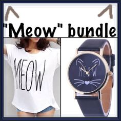 """SPECIAL PRICE """"MEOW"""" bundle special ➖NWT - PRICE FIRM (both items available in own listing too) Cannot be bundled  MEOW"""" batwing top  ➖SIZE: small-medium: PLEASE use measurements to determine fit. ➖STYLE: High- Lo batwing blouse with """"MEOW"""" written across front.  ➖MEASUREMENTS        ➖BUST: 19.5""""       ➖LENGTH: 22.5""""-27.5""""  """"MEOW"""" watch  ➖STYLE: Adorable and cute watch that has a cat face and meow on the face of the watch. Also available with a gray band.  ➖LENGTH OF THE BAND : 9"""" ➖WIDTH OF…"""