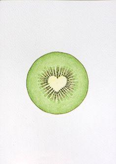 Kiwi fruit illustration watercolor kitchen decor by VApinx on Etsy, $19.00