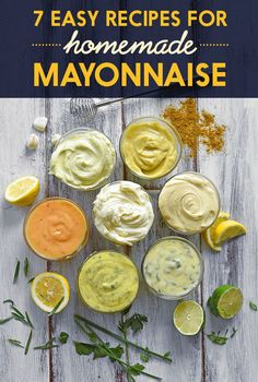 7 Of The Most Delicious Things You Can Do To Mayonnaise curry mayo Herb Aioli Spicy Mayonnaise Garlic Aioli Scallion-Lime Mayonnaise Miso Mayo Homemade Mayonnaise, Homemade Sauce, Homemade Seasonings, Homemade Food, How To Make Mayonaise, Mayo Homemade, Homemade Mustard, Cooking Recipes, Healthy Recipes