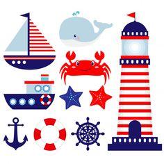 Nautical themed baby room illustrations - Acquista questo vettoriale stock ed esplora vettoriali simili in Adobe Stock Sailor Baby Showers, Baby Boy Shower, Clipart, Calin Gif, Sailor Theme, Deco Marine, Owl Clip Art, Nautical Party, Birthday Decorations
