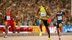 Usain Bolt surged to his third gold medal in under a week at the 2015 World Athletics Championships by anchoring Jamaica to victory in the men's final. Jamaica, Sports News, Usain Bolt Facts, Usain Bolt Olympics, Yohan Blake, Justin Gatlin, Carl Lewis, Gold, Yelena Isinbayeva