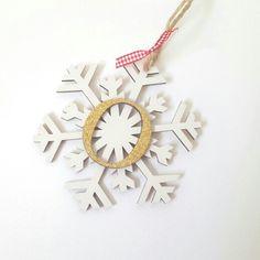 Personalised hanging wooden snowflake - £5.99
