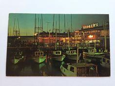 Vintage Fisherman's Wharf at Night San Francisco CA Postcard Posted 1969