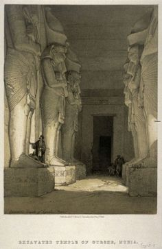 Louis Haghe (after David Roberts), Excavated Temple of Gyrshe - Egypt (19th century).