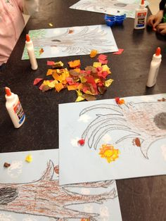 Fall tissue paper trees. Great lesson on texture, with a rubbing with brown crayon to make the tree look rough. A Little Lovely: Student Art