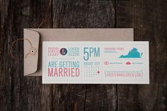 Beautiful letterpress wedding invitations designed by Loren Klein for his own wedding.