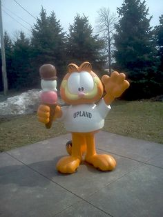 Ice Cream Lover Garfield with his triple-dip cone, Ivanhoe's Drive-In, Upland, IN.