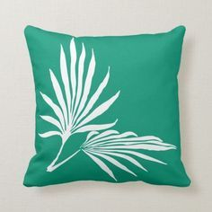 Emerald green and white tropical palm leaf silhouette throw pillow - Diy Pillow Covers, Diy Pillows, Custom Pillows, Decorative Throw Pillows, Cushions, Leaf Silhouette, Diy Projects Cans, Best Pillow, Tropical Decor