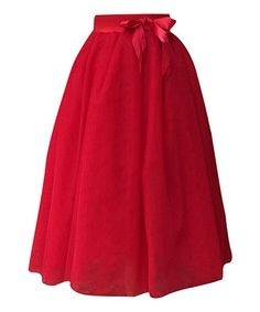 Another great find on #zulily! Red Tulle Ribbon Midi Skirt - Women #zulilyfinds