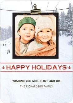 Flat Holiday Photo Cards Happy Love Joy - Front : Scarlet