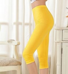 This super chic Curvy Big Woman yellow Elastic Band Capri Leggings is very comfortable to wear. This yellow Elastic Band Capri Leggings Mid Calf Cropped Pant looks very stylish and will definitely enhance your curves. To enhance your look style your Capri with polo T-Shirt or any funky tops. It comes with stylish side pockets. It is made from Rayon and Blended Fabric.    Yellow Elastic Band Capri Leggings  Mid Calf Cropped Pant  Material:Rayon,Blended Fabric  Bohemian Leggings     | Shop…