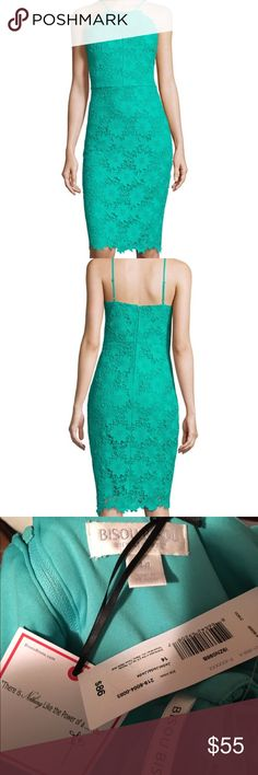 Bisou Bisou Lace dress BRAND NEW WITH TAG. Retail value of $86! Size 14 Bisou Bisou Lace overlay dress in the color Jade. This is a beautiful dress with beautiful detail. Zippered back and thin straps. Perfect for all occasions. Bought to wear for a wedding and never worn, it's just a little to big for me in areas. MAKE OFFER! Bisou Bisou Dresses Midi