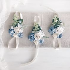 A personal favorite from my Etsy shop https://www.etsy.com/listing/587468532/blue-flower-wrist-corsage-blue-bridal