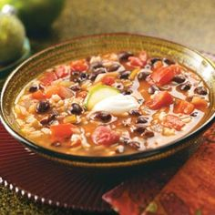 Southwest Black Bean Soup...Amazingly good! I used it with rice for a meal...without rice for just a soup/salad lunch!