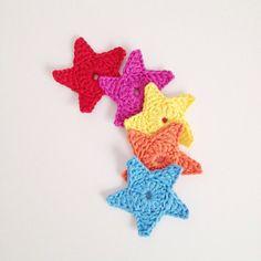 Crochet Stars  Set of 5 2.5 by annemariesbreiblog on Etsy