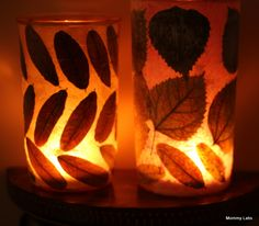 """Creating+My+""""Me+Time"""":+Leaf+Decoupage+Votive+Candle+Holder"""