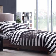black and white striped bedding unisex brief collections bed sheet sets #872 black and white bedding
