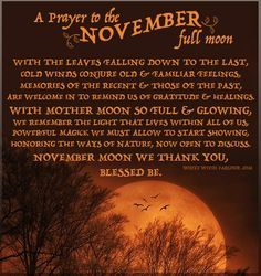 Prayer for the November full moon Wicca Witchcraft, Magick, November Full Moon, Wiccan Chants, Frost Moon, Usui Reiki, Full Moon Ritual, Moon Witch, White Witch