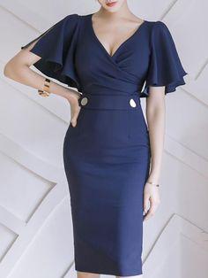 #EnvyWe #BerryLook Womens - berrylook V-Neck  Decorative Button  Plain Bodycon Dress - EnvyWe.com