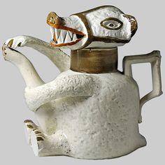 English Prattware Pottery- teapot circa 1790-1800