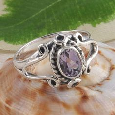 925 STERLING SILVER NEW STYLISH AMETHYST CUT RING JEWELLERY 3.32g DJR2394 S-6.5 #Handmade #Ring
