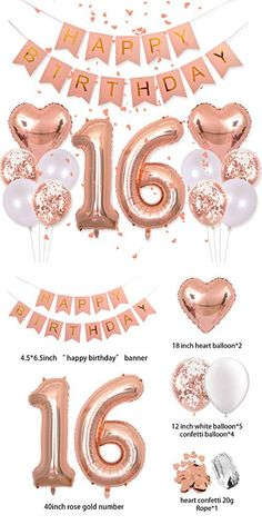 """Birthday Decorations Pink Happy Birthday Banners 40 Inch Rose Gold Number 16 Balloons Rose Gold Confetti Balloons 1 """"Diameter Heart Confetti for Birthday Party Supplies Photo Props – Bloğ Sweet 16 Birthday Cake, Pink Happy Birthday, Birthday Party For Teens, 18th Birthday Party, Happy Birthday Banners, 16 Birthday Ideas, Pink And Gold Birthday Party, Happy Birthday Balloons, Birthday Outfits"""