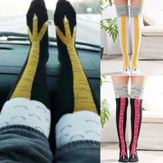 5ca15f1cc206 Christmas Funny 3D Chicken High Socks Creative Cartoon Animals Thigh  Stockings Womens Hot Spoof Cotton Chicken