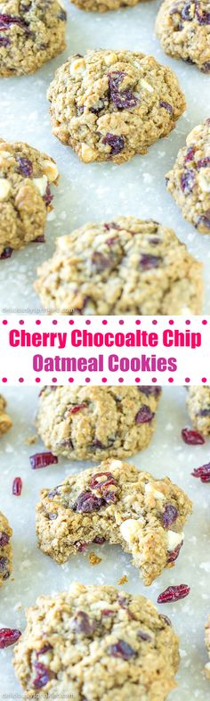 Cherry Chocolate Chip Oatmeal Cookies- dried cherries, white chocolate chips, and oatmeal makes these one delicious cookie!