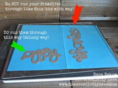 """When putting 'Framelits' through your embossing machine run them through so the skinniest amount runs through the big shot. This way more """"cutting pressure"""" is distributed on a more condensed area of the die, cutting it better. When it has to be spread over the longer area, there is less """"cutting pressure"""" distributed on the die the """"long way"""" Always feed it perpendicular to the roller in your machine."""