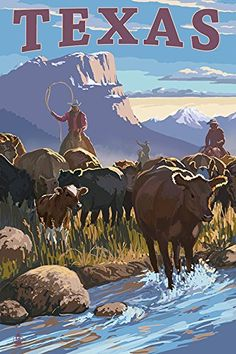 Texas  Cowboy Cattle Drive Scene 36x54 Giclee Gallery Print Wall Decor Travel Poster *** Find out more about the great product at the image link.
