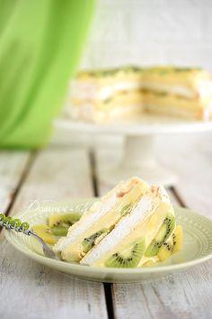 Tort bezowy z crème pâtissière i owocami Kiwi, Meringue Pavlova, Dessert Recipes, Desserts, No Bake Cake, Camembert Cheese, Creme, Sandwiches, Dairy