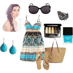 Summer, Turquoise and Natural, created by feellikedancin on Polyvore