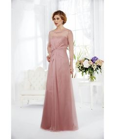 Fashion Jewel Floor Length Pink Chiffon Mother Of The Bride Dress